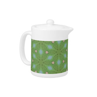 Green and Blue Leafy Pattern Teapot