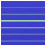 [ Thumbnail: Green and Blue Lined/Striped Pattern Fabric ]