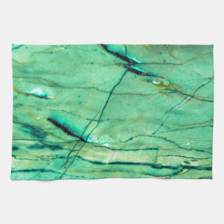 Green and blue marble kitchen towels