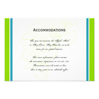 Green and Blue Modern Floral Wedding Accomodations Custom Announcements