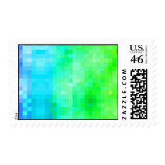 Green and blue modern mosaic pattern postage