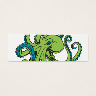 Green and Blue Octopus Mini Business Card