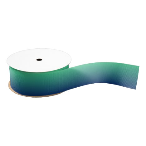 Green and blue ombre grosgrain ribbon