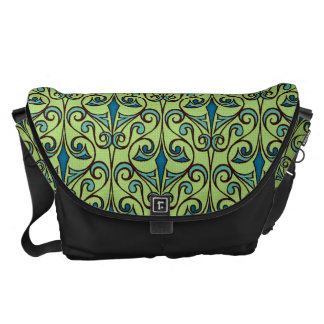 Green and Blue Ornate Damask Courier Bag