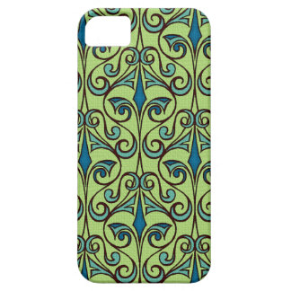 Green and Blue Ornate Damask iPhone SE/5/5s Case
