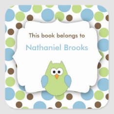 Green And Blue Owl Bookplates For Children at Zazzle