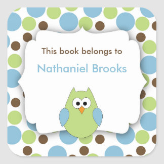 Green and Blue Owl bookplates for children