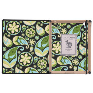 Green and Blue Paisley iPad Cases