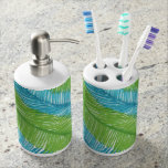Green and Blue Palm Leaves Pattern Bathroom Set