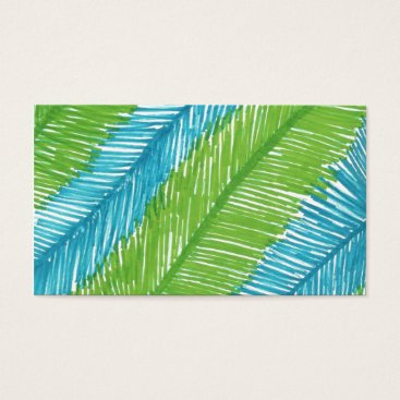 Beach Themed Green and Blue Palm Leaves Pattern Business Card