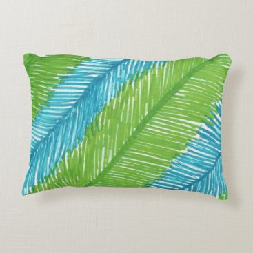 Beach Themed Green and Blue Palm Leaves Pattern Decorative Pillow