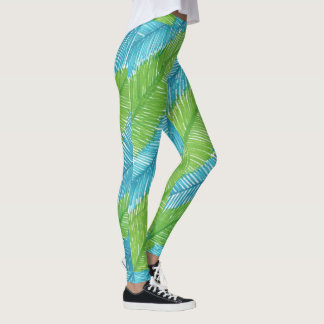 Green and Blue Palm Leaves Pattern Leggings