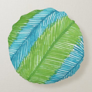Beach Themed Green and Blue Palm Leaves Pattern Round Pillow