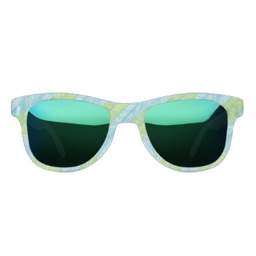 Beach Themed Green and Blue Palm Leaves Pattern Sunglasses