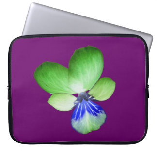 Green and Blue Pansy Laptop Bag