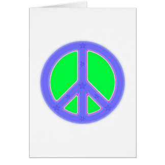 Green and Blue Peace Symbol Design Card