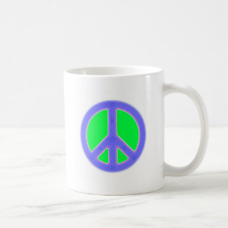 Green and Blue Peace Symbol Design Coffee Mug