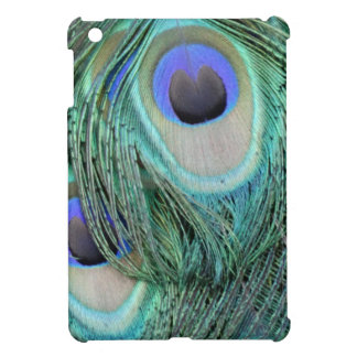 green and blue peacock tail feather iPad mini cover