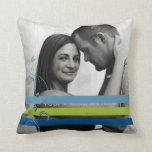 Green and Blue Photo Engagement Throw Pillows