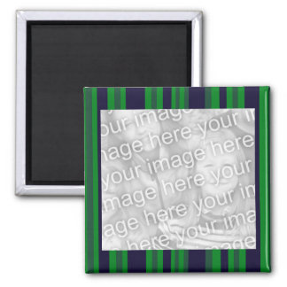Green and blue photo frame 2 inch square magnet