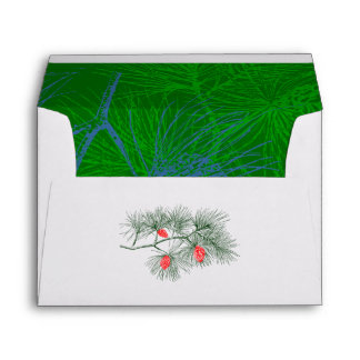 Green and Blue Pine Branch Lined A7 Envelopes