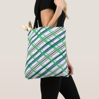 Green and Blue Plaid Tote Bag