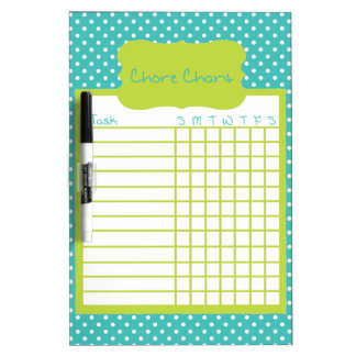 Green and Blue Polka Dot Chore Chart Dry-Erase Board