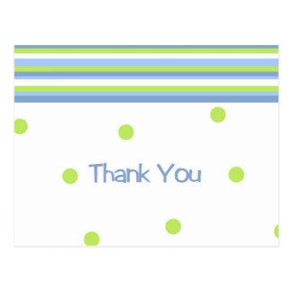Green and blue polka dot striped thank you postcar postcard