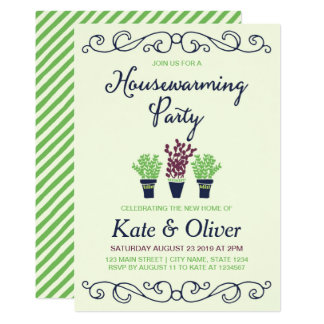 Green and Blue Potted Plants Housewarming Party Card