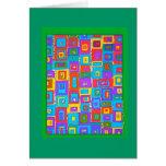 Green and Blue Rectangles Op Art Card