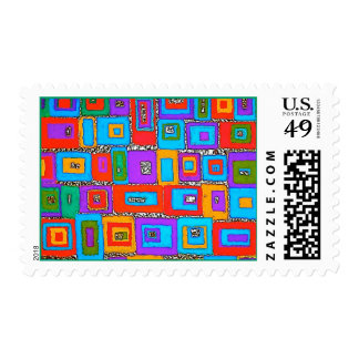 Green and Blue Rectangles Op Art Postage