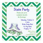 Green and Blue Roller Skate Birthday Invitation