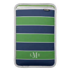 Green And Blue Rugby Stripes Monogrammed Macbook Sleeve at Zazzle