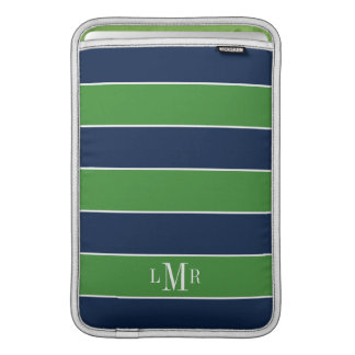 Green and Blue Rugby Stripes Monogrammed MacBook Sleeve