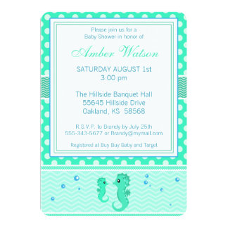 Green and Blue Seahorse Baby Shower Invitation
