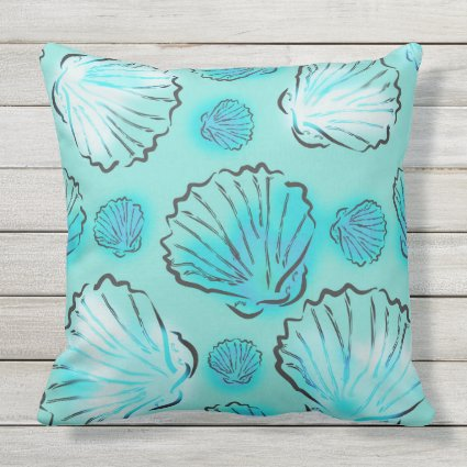 Green And Blue Seashells Beachy Throw Pillows