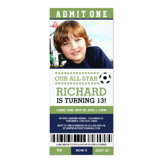 Green and Blue Soccer Ticket Birthday Invites