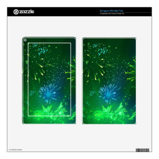 green and blue sparkles kindle fire skins