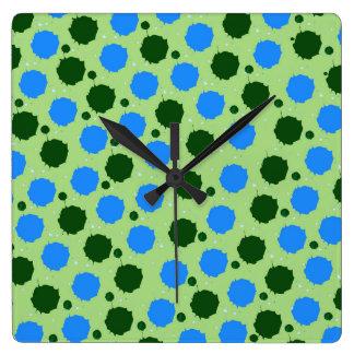 Green and Blue Splash Dots Square Wall Clock