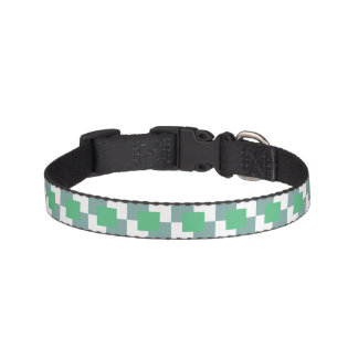 Green and Blue Squares in White BG Dog Collars