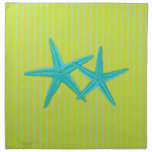 Green and Blue Starfish Couple Dinner Napkins