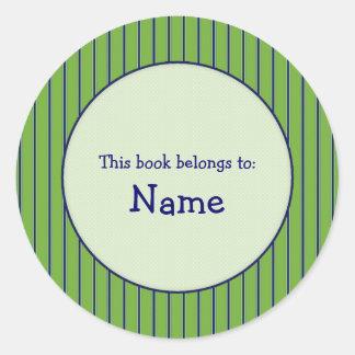 Green and blue striped bookplate round sticker