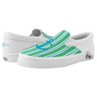 Green and Blue Striped Nautical Zipz Slip On Shoe