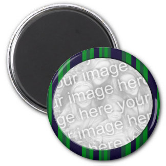 Green and Blue Striped photo frame 2 Inch Round Magnet