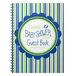 Green and Blue Stripes Baby Shower Guest Book- Spiral Notebooks