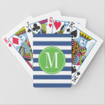 "Green and Blue Stripes Custom Monogram Bicycle Playing Cards<br><div class=""desc"">Trendy and modern stripes pattern playing cards. Write your first name initial on the template to personalize. You can change the blue stripes color by clicking the Customize it button - Edit Menu - Background.</div>"