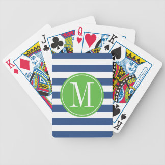 Green and Blue Stripes Custom Monogram Bicycle Playing Cards