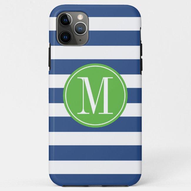 Green and Blue Stripes Custom Monogram Case-Mate iPhone Case