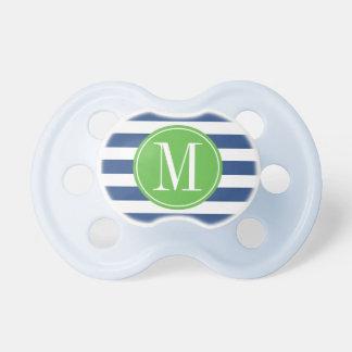 Green and Blue Stripes Custom Monogram Pacifier
