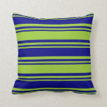 [ Thumbnail: Green and Blue Stripes Pattern Throw Pillow ]